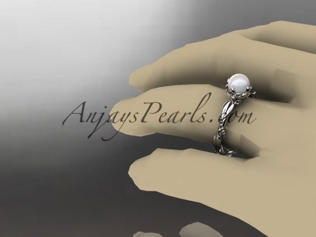 Platinum diamond pearl unique engagement ring AP178 - AnjaysDesigns