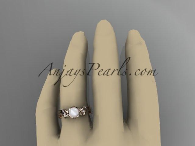 Unique 14kt rose gold diamond floral pearl engagement ring AP223 - AnjaysDesigns