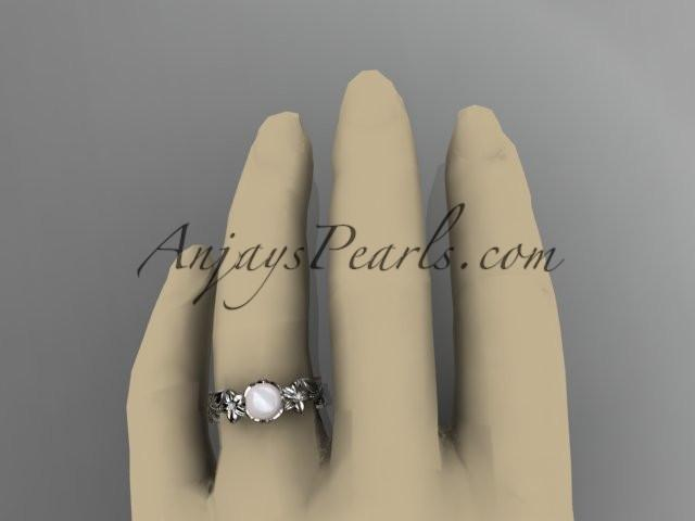 Unique 14kt white gold diamond floral pearl engagement ring AP223 - AnjaysDesigns