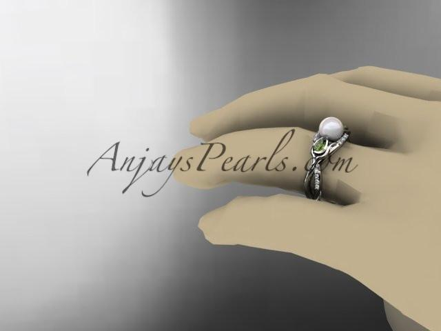 Platinum diamond pearl, tulip unique engagement ring AP226 - AnjaysDesigns