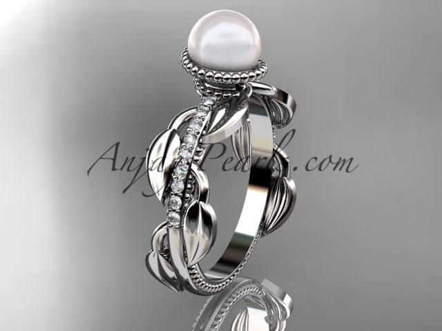Platinum diamond pearl, leaf and vine engagement ring AP231 - AnjaysDesigns