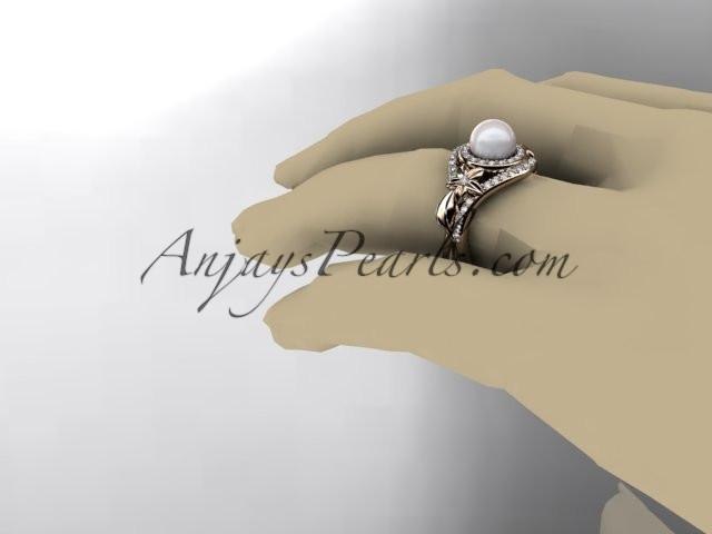 Unique 14kt rose gold diamond pearl floral leaf and vine engagement ring AP245 - AnjaysDesigns