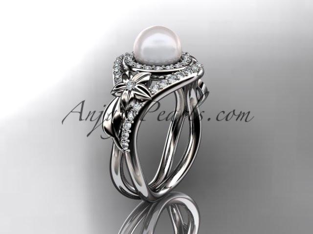 Unique 14kt white gold diamond pearl floral leaf and vine engagement ring AP245 - AnjaysDesigns