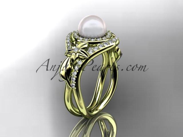 Unique 14kt yellow gold diamond pearl floral leaf and vine engagement ring AP245 - AnjaysDesigns