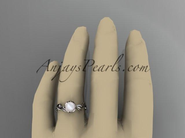 Unique 14kt white gold diamond pearl leaf and vine engagement ring AP248 - AnjaysDesigns