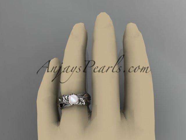 Unique 14kt white gold diamond leaf and vine pearl engagement ring AP253 - AnjaysDesigns
