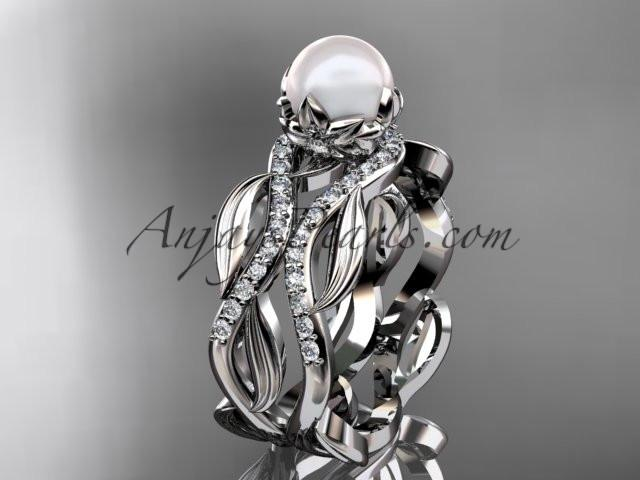 Unique 14kt white gold diamond pearl floral leaf and vine engagement set AP264S - AnjaysDesigns