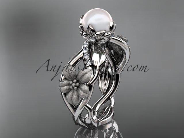 Unique 14kt white gold diamond floral leaf and vine wedding ring,engagement ring AP270 - AnjaysDesigns