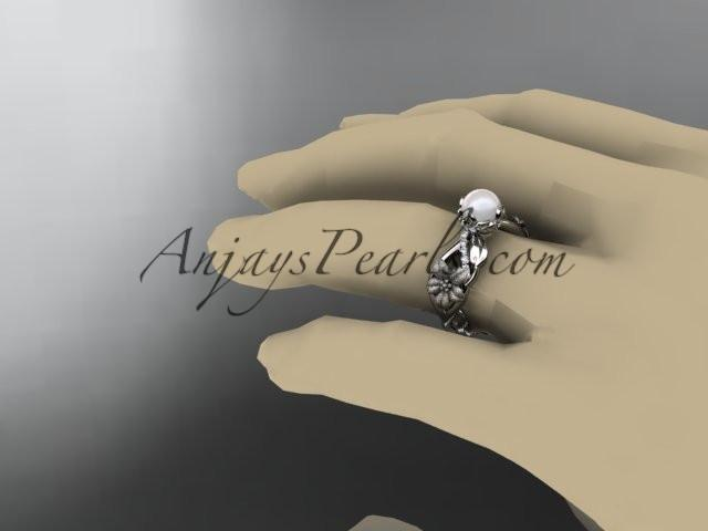 Unique platinum diamond floral leaf and vine pearl engagement ring AP270 - AnjaysDesigns