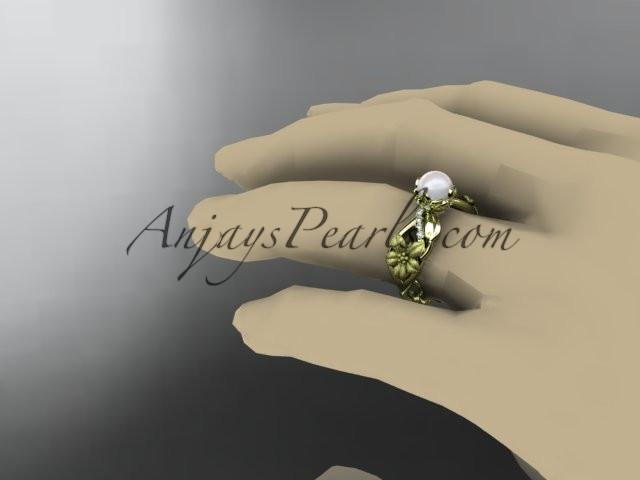 Unique 14kt yellow gold diamond floral leaf and vine wedding ring,engagement ring AP270 - AnjaysDesigns