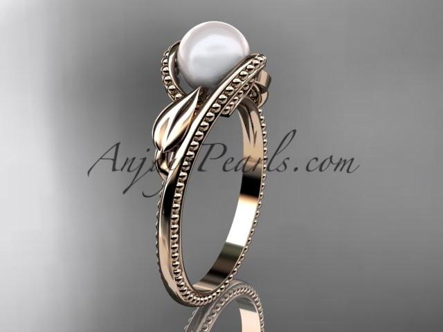 Unique 14kt rose gold diamond floral pearl engagement ring AP301 - AnjaysDesigns