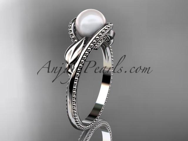 Unique 14kt white gold diamond floral pearl engagement ring AP301 - AnjaysDesigns