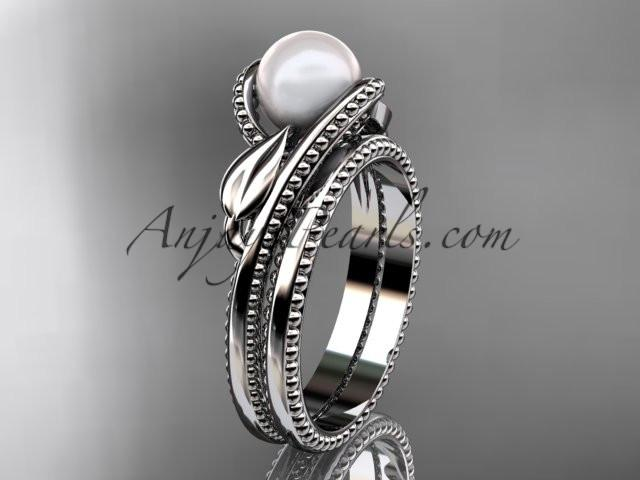 Unique platinum leaf and vine pearl engagement set AP301S - AnjaysDesigns