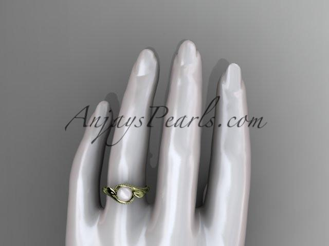 Unique 14kt yellow gold diamond floral pearl engagement ring AP301 - AnjaysDesigns
