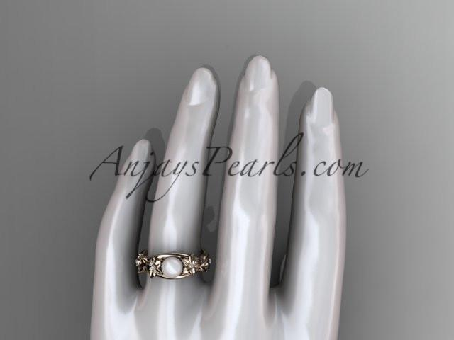 Unique 14kt rose gold diamond floral pearl engagement ring AP302 - AnjaysDesigns