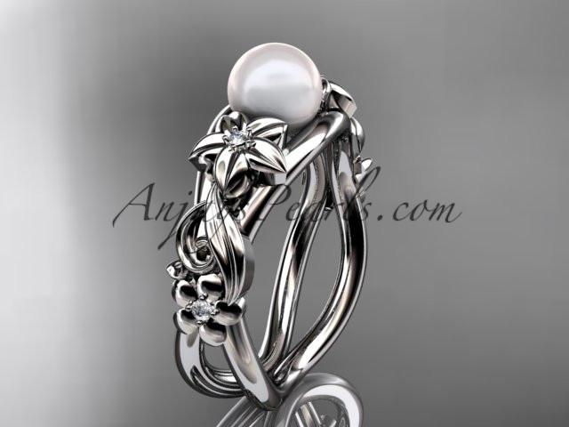 Unique 14kt white gold diamond floral pearl engagement ring AP302 - AnjaysDesigns