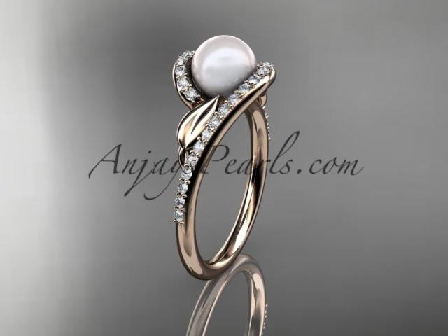 14k rose gold diamond leaf and vine, pearl wedding ring, engagement ring AP317 - AnjaysDesigns
