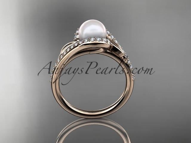 14k rose gold diamond leaf and vine, pearl wedding ring, engagement ri