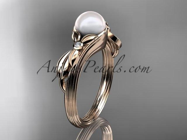 Unique 14kt rose gold diamond floral pearl engagement ring AP324 - AnjaysDesigns