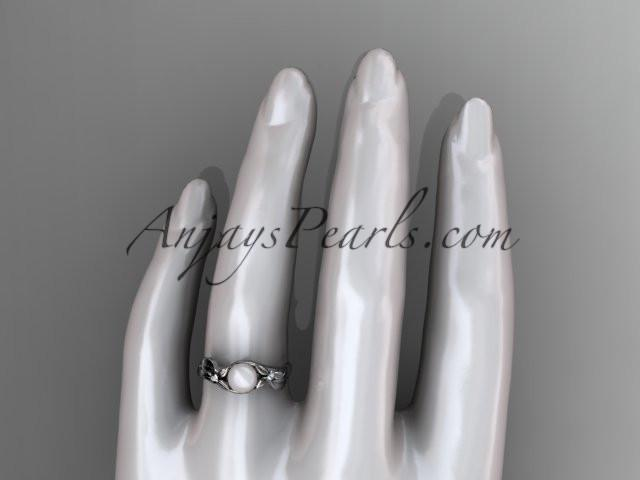 Unique 14kt white gold diamond floral pearl engagement ring AP324 - AnjaysDesigns