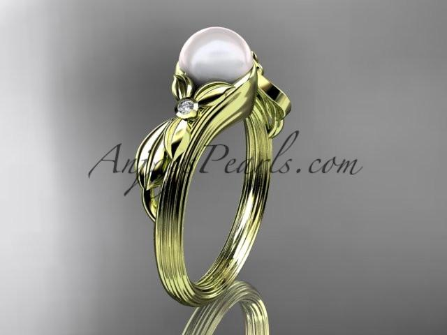 Unique 14kt yellow gold diamond floral pearl engagement ring AP324 - AnjaysDesigns