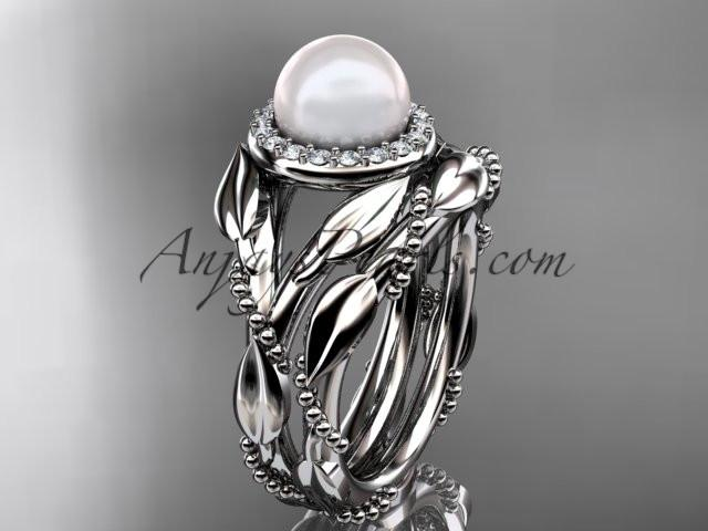 platinum diamond pearl unique engagement set AP328S - AnjaysDesigns