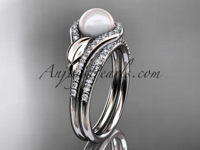 platinum diamond pearl leaf engagement set AP334S - AnjaysDesigns