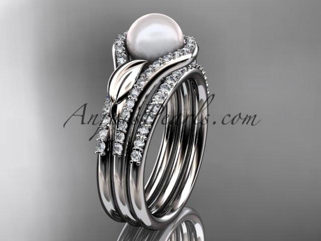 platinum diamond pearl leaf engagement ring with a double matching band AP334S - AnjaysDesigns