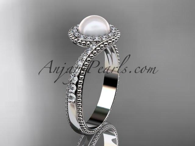 platinum diamond wedding ring, engagement ring AP379 - AnjaysDesigns