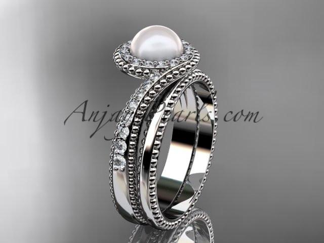 platinum diamond wedding ring, engagement set AP379S - AnjaysDesigns