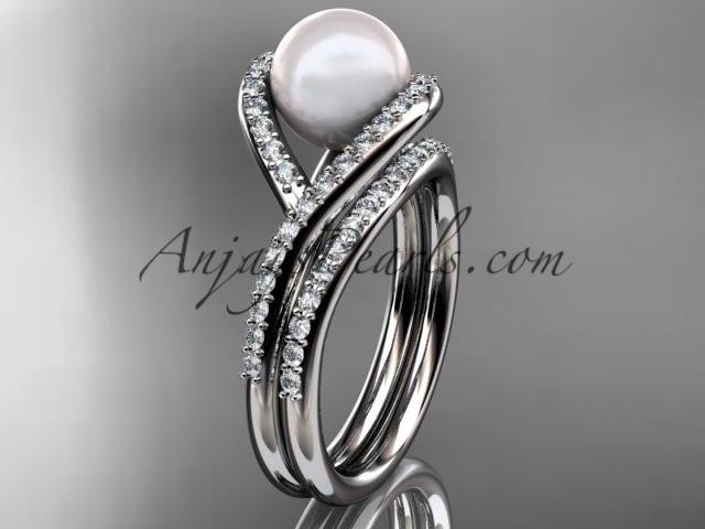 platinum diamond pearl unique engagement set, wedding ring AP383S - AnjaysDesigns