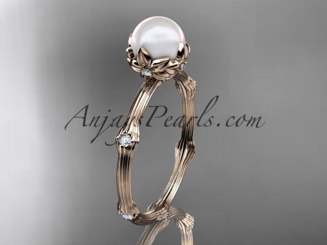 14k rose gold diamond pearl vine and leaf engagement ring AP38 - AnjaysDesigns