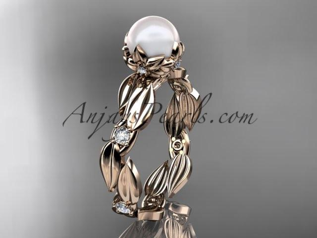 14k rose gold diamond pearl vine and leaf engagement ring AP58 - AnjaysDesigns