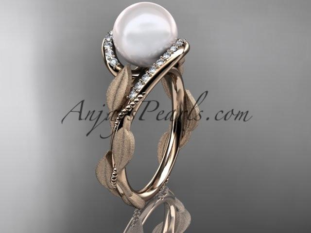 14k rose gold diamond pearl vine and leaf engagement ring AP64 - AnjaysDesigns