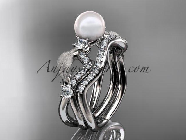 platinum diamond pearl leaf engagement set AP68S - AnjaysDesigns