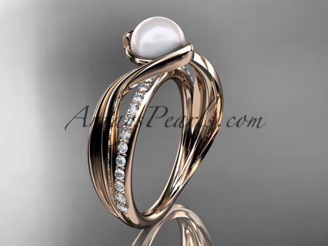 14k rose gold diamond pearl vine and leaf engagement ring AP78 - AnjaysDesigns