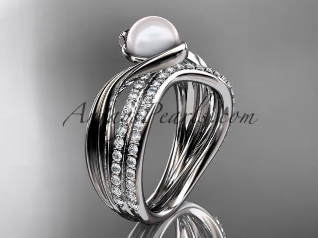 platinum diamond pearl engagement set AP78S - AnjaysDesigns