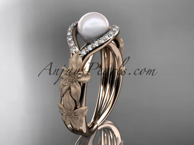 14k rose gold diamond pearl vine and leaf engagement ring AP85 - AnjaysDesigns