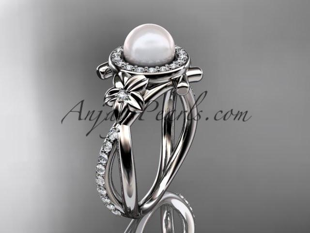 platinum diamond pearl vine and leaf engagement ring AP89 - AnjaysDesigns