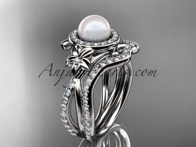Platinum diamond pearl vine and leaf engagement set AP89S - AnjaysDesigns