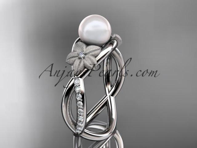 platinum diamond pearl vine and leaf engagement ring AP90 - AnjaysDesigns