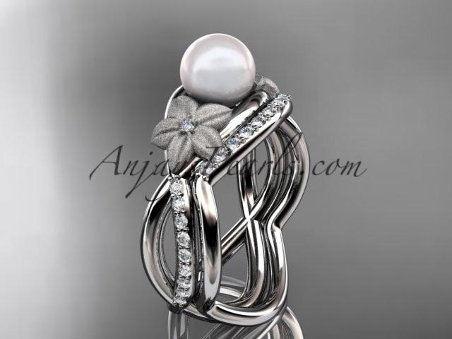 Platinum diamond pearl vine and leaf engagement set AP90S - AnjaysDesigns