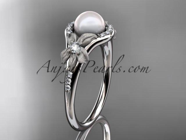 Platinum diamond pearl vine and leaf engagement ring AP91 - AnjaysDesigns
