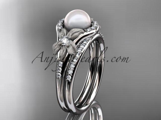 platinum diamond pearl vine and leaf engagement set AP91S - AnjaysDesigns