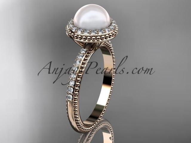 14k rose gold diamond pearl vine and leaf engagement ring AP95 - AnjaysDesigns