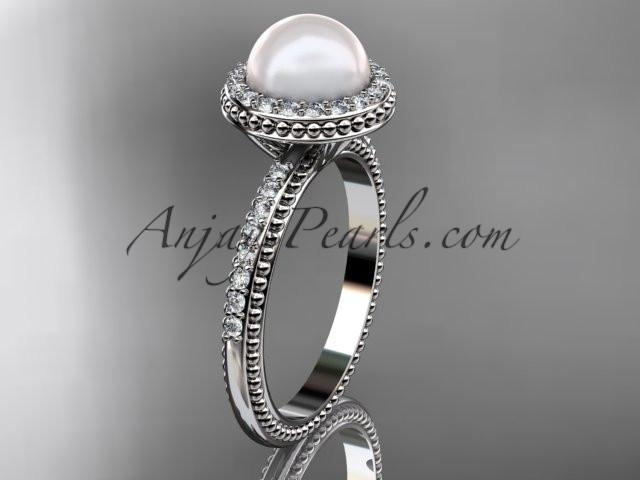 platinum diamond pearl vine and leaf engagement ring AP95 - AnjaysDesigns