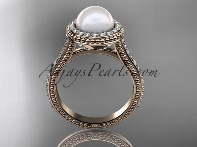 14k rose gold diamond pearl vine and leaf engagement ring AP97 - AnjaysDesigns