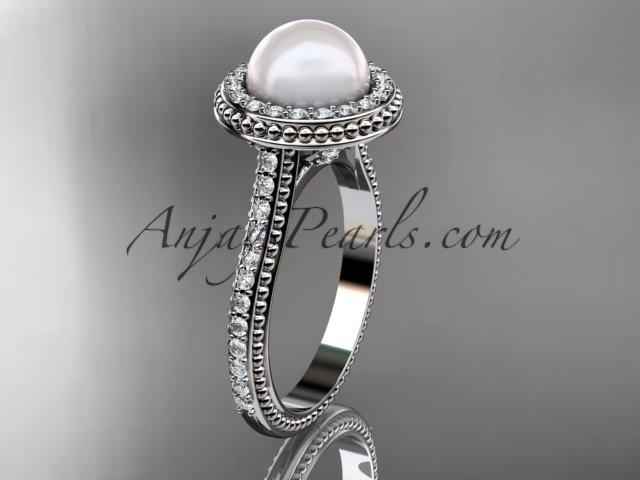 Platinum diamond pearl vine and leaf engagement ring AP97 - AnjaysDesigns