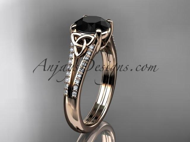 14kt rose gold celtic trinity knot engagement ring ,diamond wedding ring with a Black Diamond center stone CT7108 - AnjaysDesigns