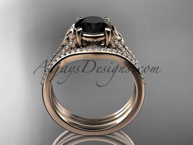 14kt rose gold celtic trinity knot engagement ring ,diamond wedding ring, engagment set with a Black Diamond center stone CT7108S - AnjaysDesigns